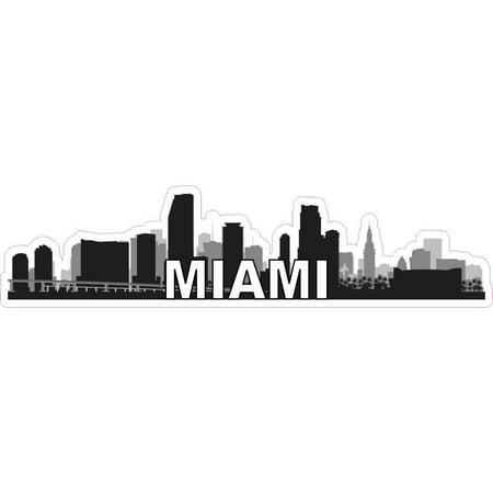 City Sticker Bumper (10in x 2.5in Miami Skyline Sticker Vinyl Car Window Decal Bumper Stickers )