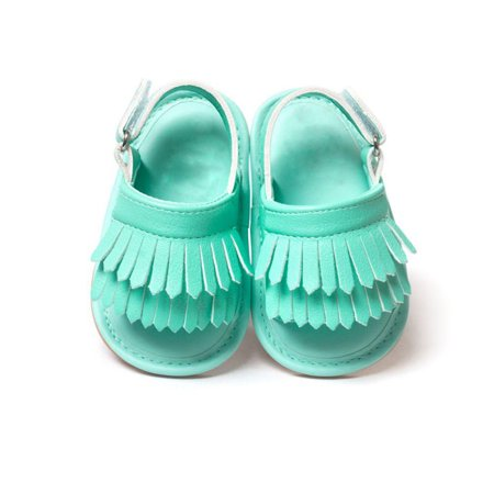 Infant Baby Girls Summer Sandals with Tassels Soft Sole PU Leather Newborn Toddler First Walker Crib Shoes(0-12 - Leather Girls Sandals