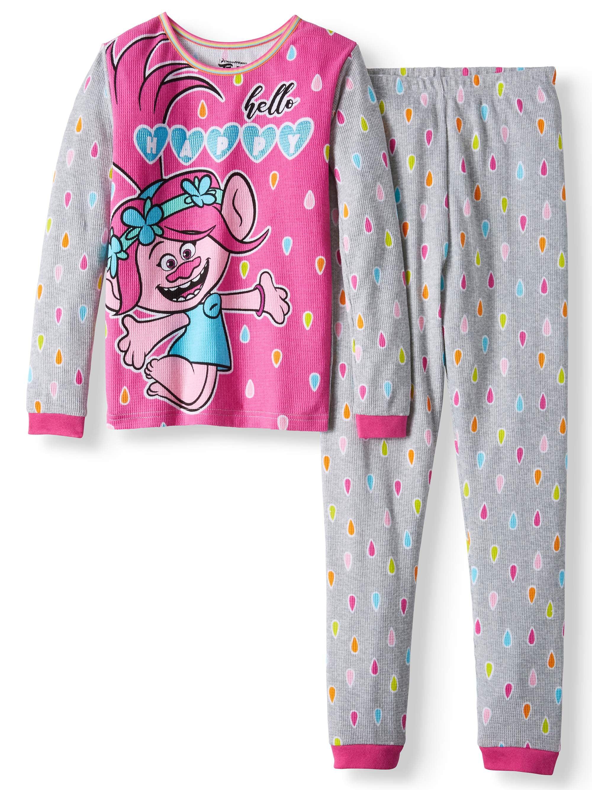Trolls Girls' thermal 2-Piece underwear set