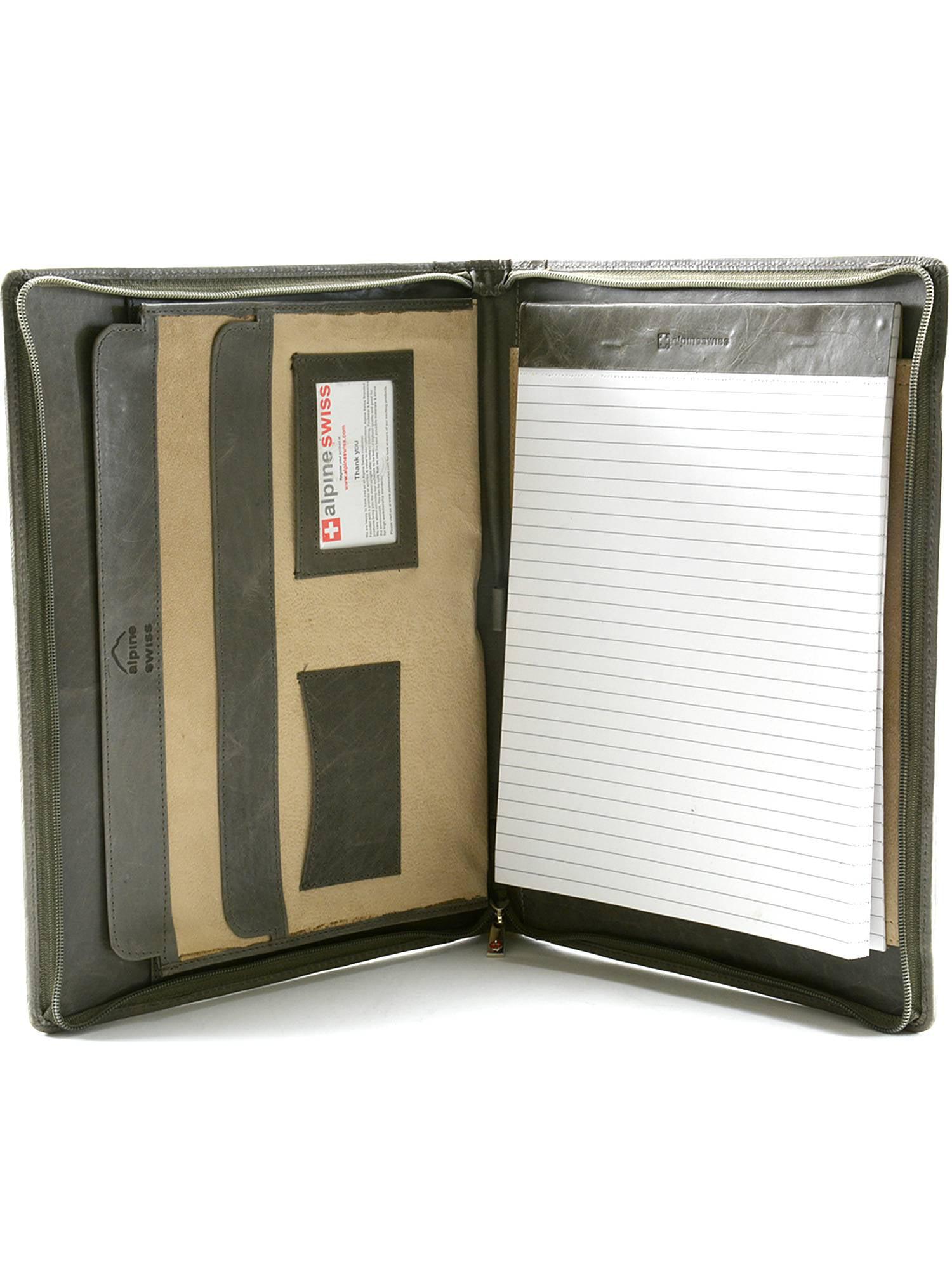 Alpine Swiss Leather Zippered Writing Pad Portfolio Business Briefcase Organizer by alpine swiss