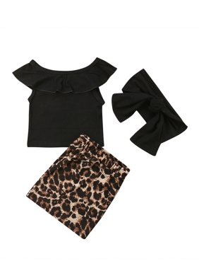 Kids Baby Girl Leopard print Outfits Clothes Tank Tops+Sheath Dress Skirt Set Christmas Gifts
