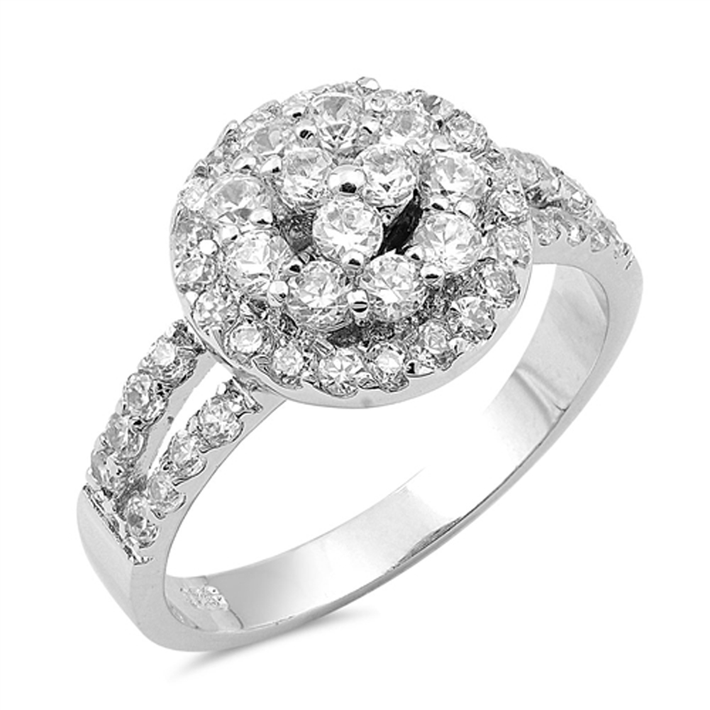 Wedding Clear CZ Unique Cluster Halo Ring ( Sizes 5 6 7 8 9 10 ) .925 Sterling Silver Band Rings by Sac Silver (Size 5)