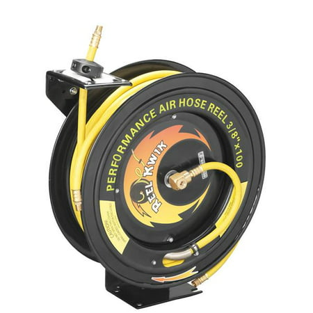Pentagon Tools 3/8 300PSI Heavy Duty Retractable 100 Foot Air Hose & Reel Professional Grade