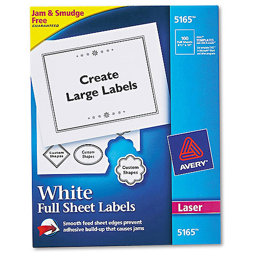 "Avery 5165 White Full-Sheet Shipping Labels for Laser Printers, 8-1/2"" x 11"", 100 Labels/Pack"
