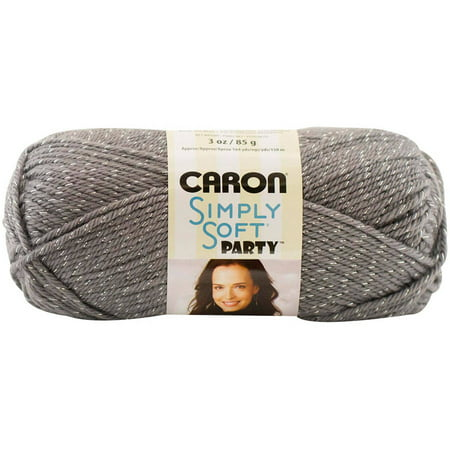 CARON SIMPLY SOFT PARTY YARN (85G/3OZ), PLATINUM SPARKLE - Easy Halloween Crafts Yarn