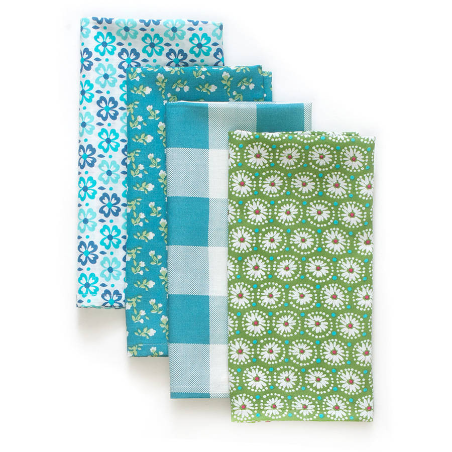 The Pioneer Woman Flea Market Napkins, Teal, Set of 4, Multiple Colors and Counts