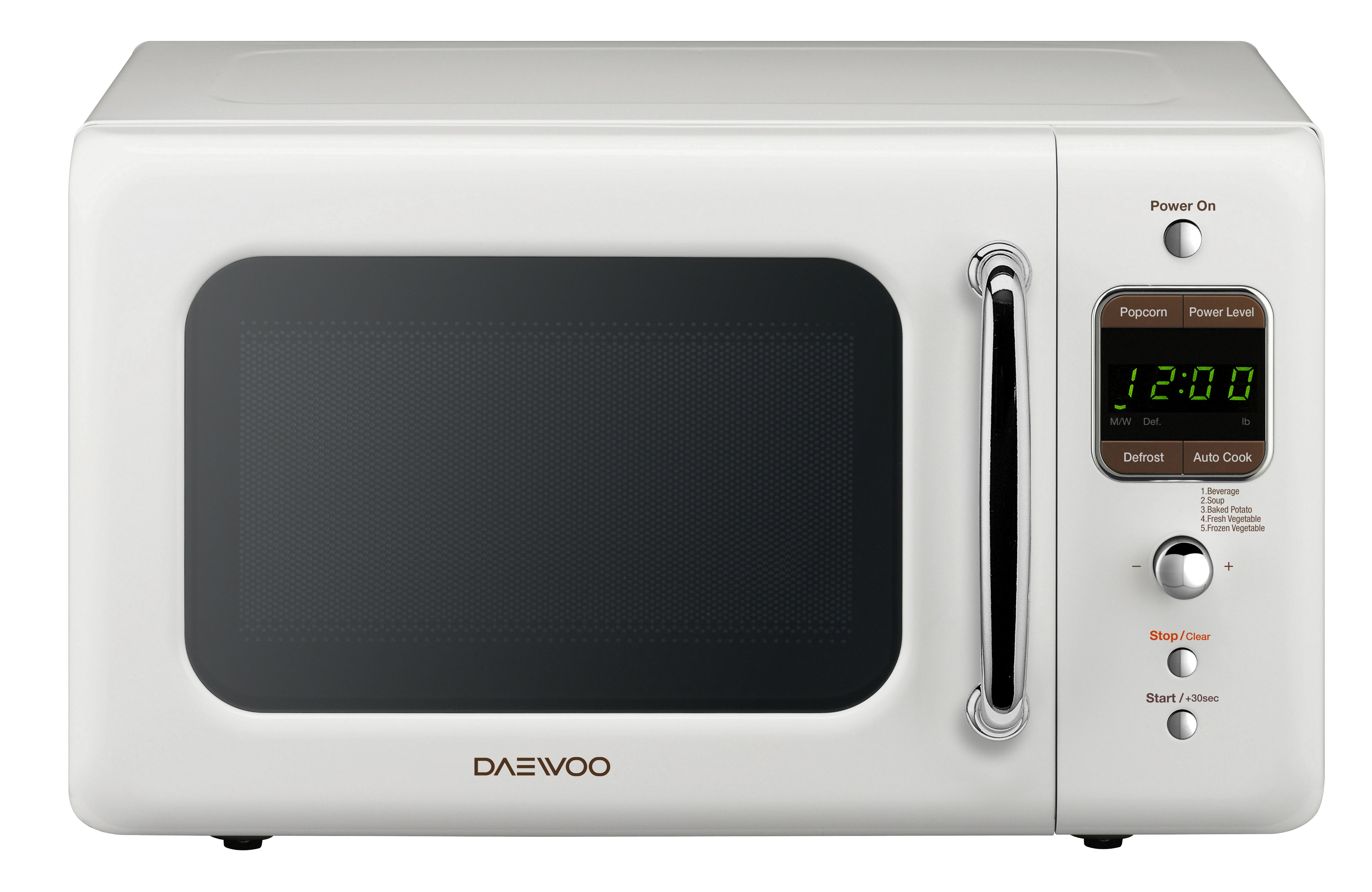 Daewoo 0 7 Cu Ft Retro Microwave Oven Cream White