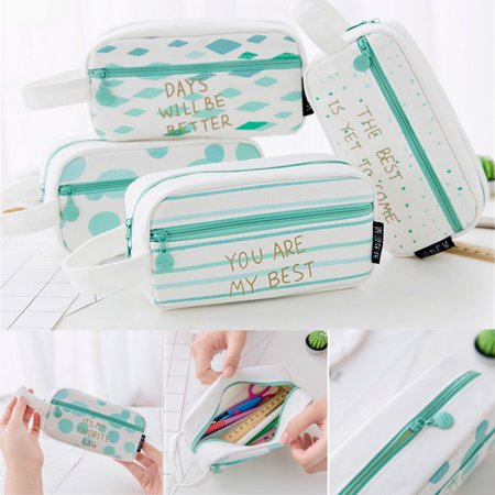 Canvas Pencil Case Large Capacity Pen Box Stationery Pouch Makeup Cosmetic Bag