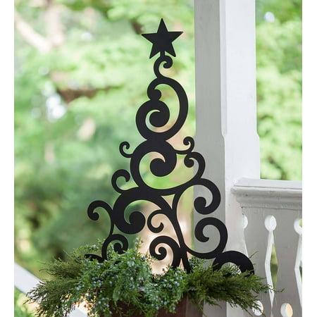 Black Metal Outdoor Christmas Tree Yard And Garden Stake Walmart Com