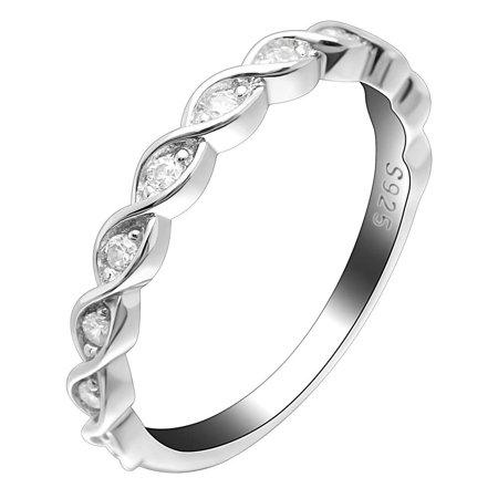 Ginger Lyne Collection Shanti Solid Sterling Silver Rope Twist CZ Anniversary Wedding Bridal Band Ring Anniversary Wedding Bridal Ring