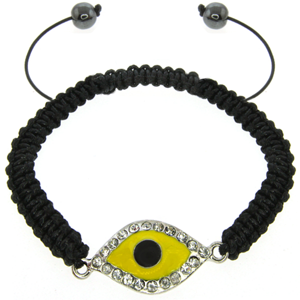 "Stunning 8"" Adjustable CZ Yellow Color Evil Eye Inspired Bracelet"