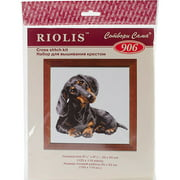 """Dachshund Counted Cross-Stitch Kit, 9.75"""" x 9.75"""", 16-Count"""