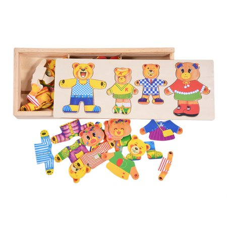 Mellow Bear - Yosoo Creative Kids Baby Colorful Wooden Cartoon Bear Dress Changing Clothes Puzzle Educational Toy, Kids Children Toy, Kids Wooden Toy
