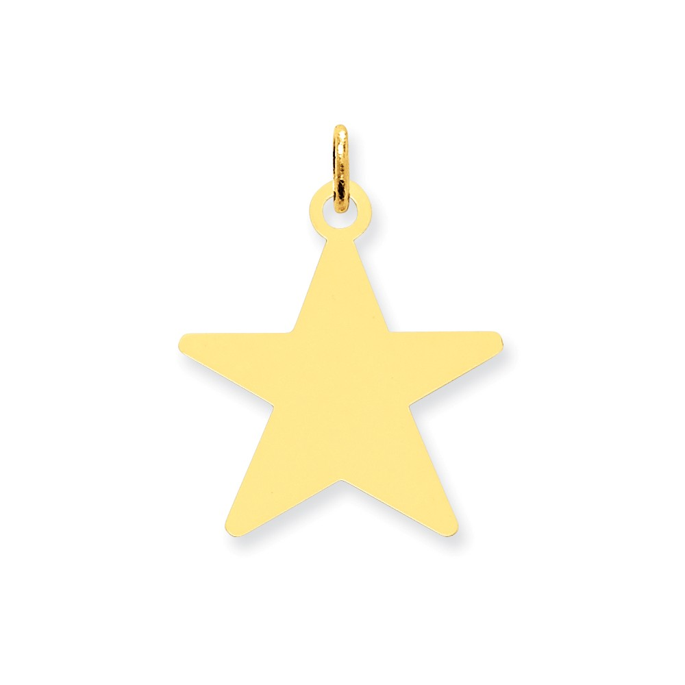 14k Yellow Gold Engravable Polished Star Disc Charm (1.1in long x 0.8in wide)