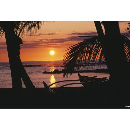 Hawaii Big Island Mauna Lani Beach Hotel Ocean Sunset Outrigger Canoe Resting On A Tropical Beach Posterprint