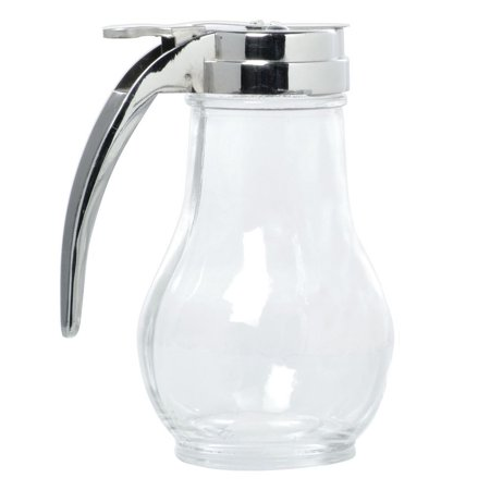 HUBERT Syrup Dispenser with Chrome Plated Top Glass 14 Ounce Drop In Plate Dispenser