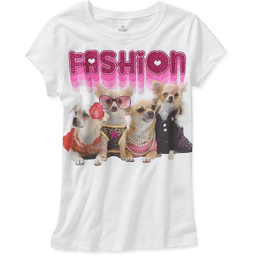 Girls' Fashion Dogs Graphic Tee