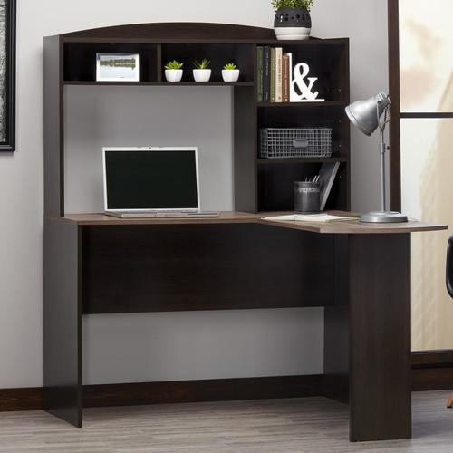 Altra Furniture Sutton L Desk with Hutch in Espresso and Rustic Oak