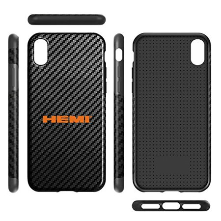 HEMI Logo iPhone X Black Carbon Fiber Texture Leather TPU Shockproof Cell Phone Case Challenger Charger Jeep RAM