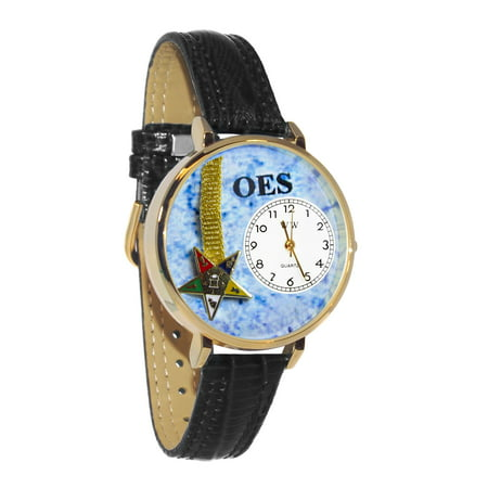 Whimsical Order of the Eastern Star Navy Blue Leather And Goldtone Watch