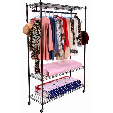 3-Tiers Heavy Duty Wire Shelving Garment Rolling Rack Clothing Rack with Double Clothes Rods and Lockable Wheels ,Clothes Hanger Home Shelf Up to 400lb