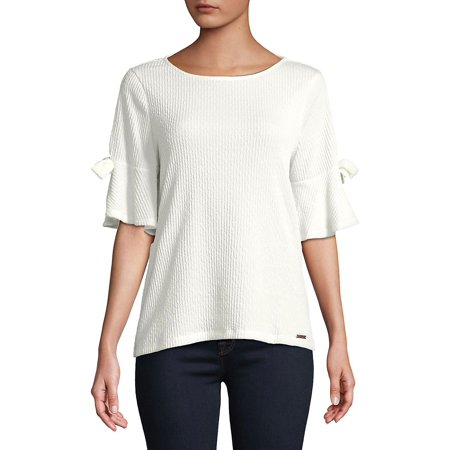 Textured Elbow-Sleeve Top - 1960 Clothes