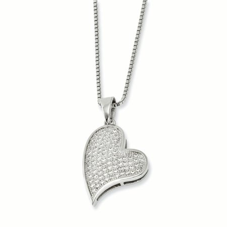 Sterling Silver & CZ Brilliant Embers Heart Necklace 18 Inch - image 3 of 3