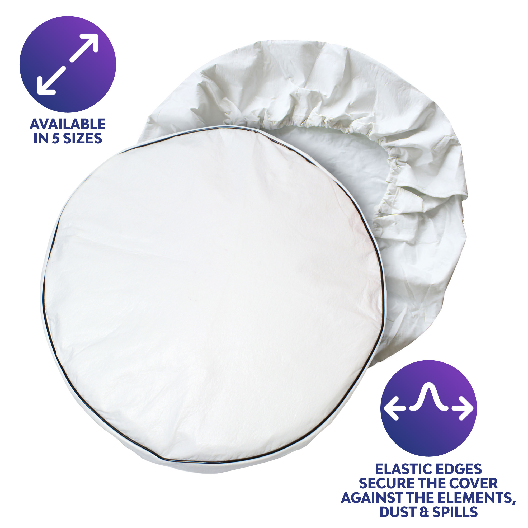 "Camper Wheel Covers Wheel Protector 1-Pack Dumble White RV Tire Covers Single 1-Pack for 28/"" Inch Diameter Tires"