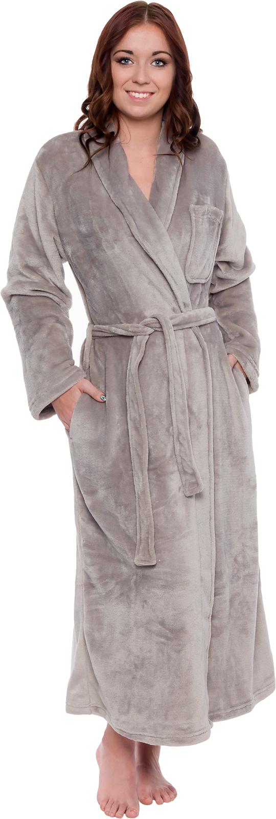 Silver Lilly Womens Plush Wrap Kimono Long Bathrobe Loungewear w/ Tie Belt