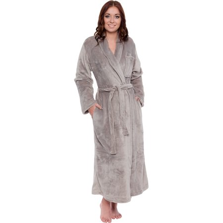 (Silver Lilly Womens Plush Wrap Kimono Long Bathrobe Loungewear w/ Tie Belt)