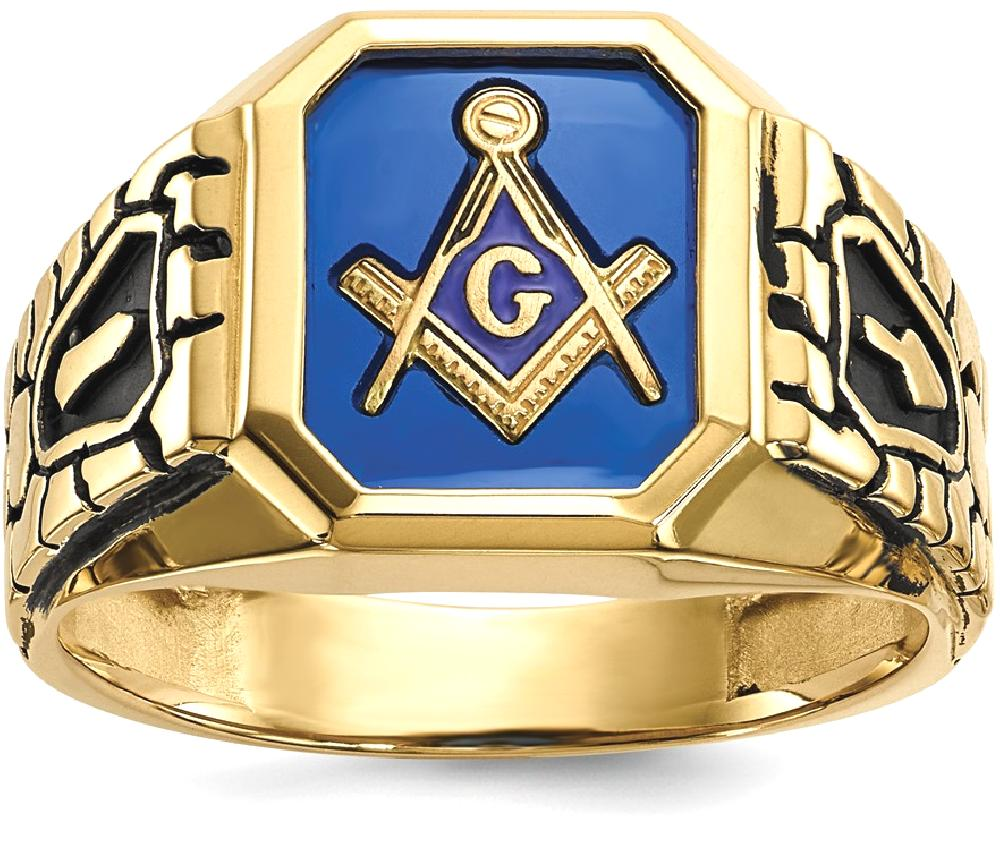 ICE CARATS ICE CARATS 10kt Yellow Gold Blue Acrylic Mens Masonic Freemason Mason Band Ring Size 10.00 Man Fine Jewelry... by IceCarats Designer Jewelry Gift USA