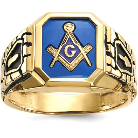(ICE CARATS 10kt Yellow Gold Blue Acrylic Mens Masonic Freemason Mason Band Ring Size 10.00 Man Fine Jewelry Dad Mens Gift Set)