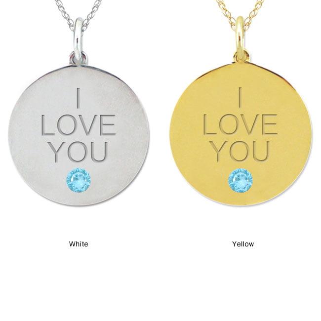 10k Gold Engraved 'I LOVE YOU' Sky Blue Topaz Necklace
