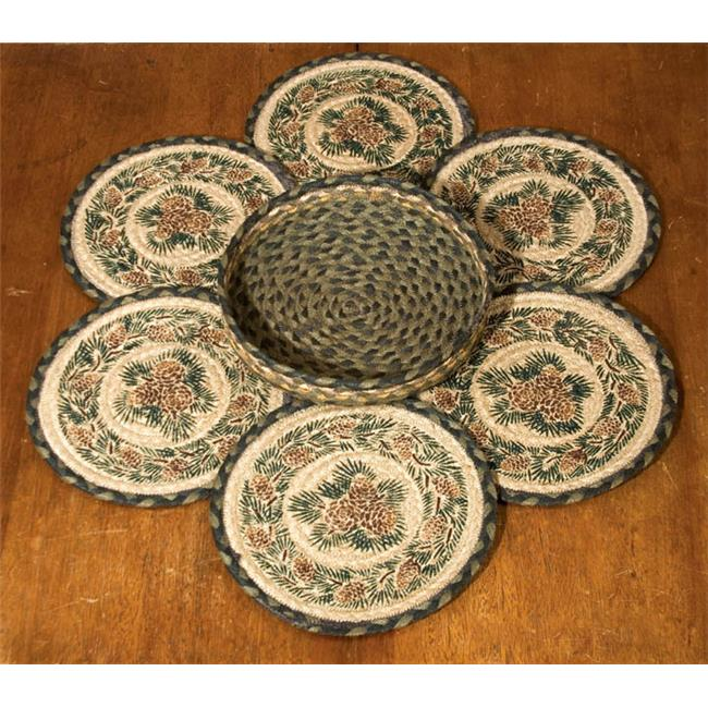 Capitol Importing 56-025A Pinecone - Set of 7 Trivets in a Basket