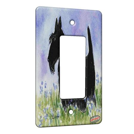 KuzmarK™ 1 Gang Rocker Wall Plate - Black Scottish Terrier with Blue Flowers Scottie Dog Art by Denise Every