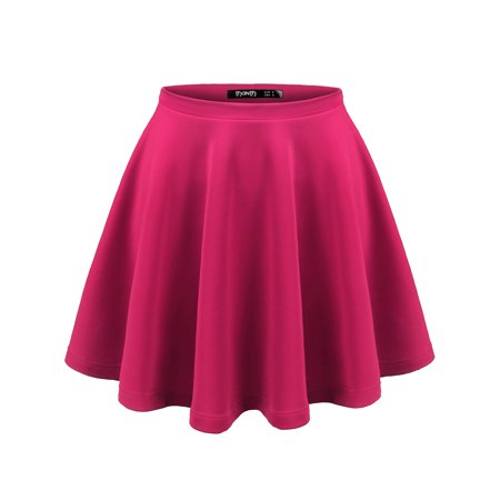 0ca2679a27981 Doublju - Doublju Womens Basic Soild Stretchy Flared Mini Skirt With Plus  Size MAGENTA L - Walmart.com