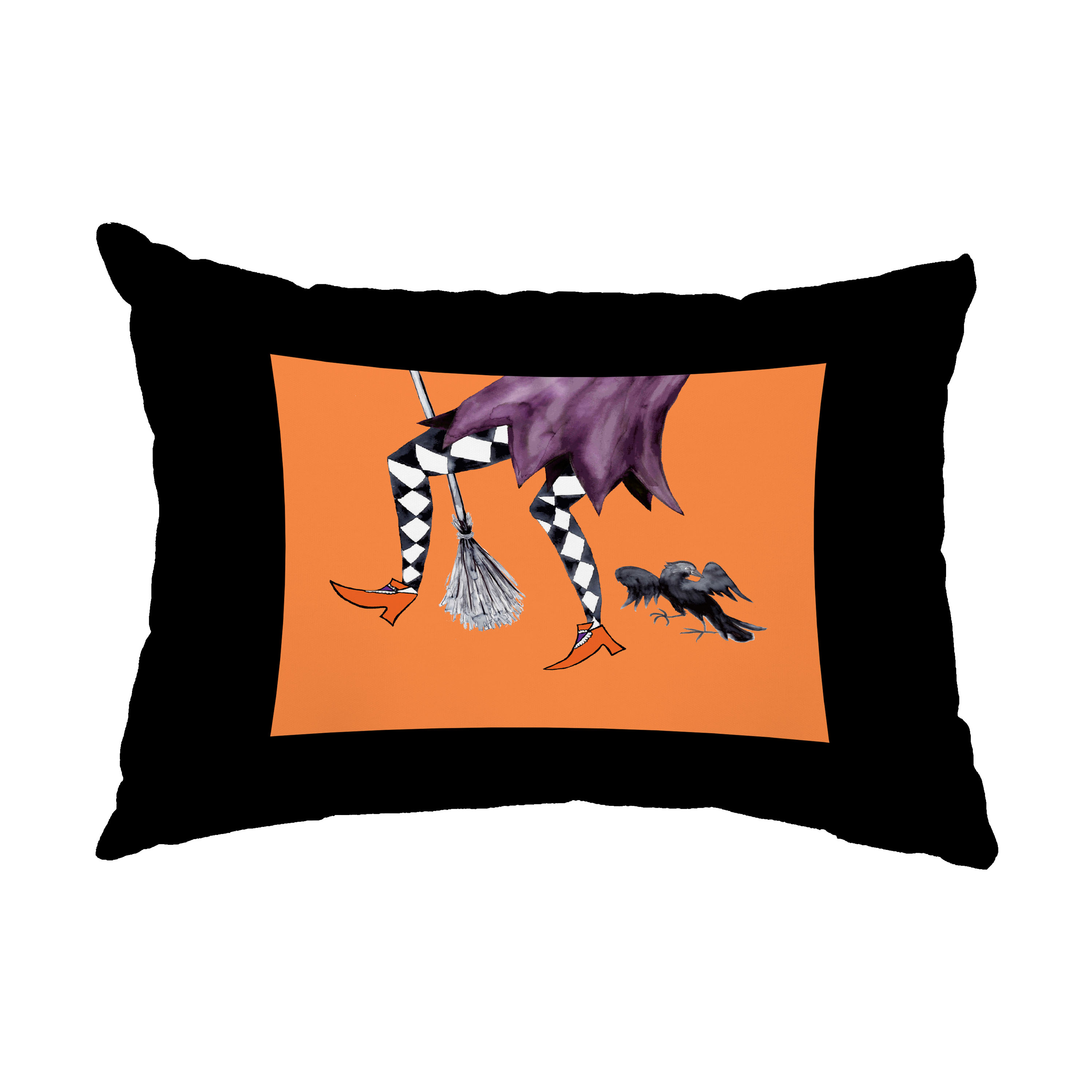 Fly Away Witch 14x20 Inch Orange Halloween Print Decorative Outdoor