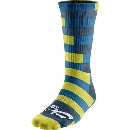 Nike Men's SB Dri-FIT Striped Skate Crew Socks Large (8-12) Lime Green Grey Blue