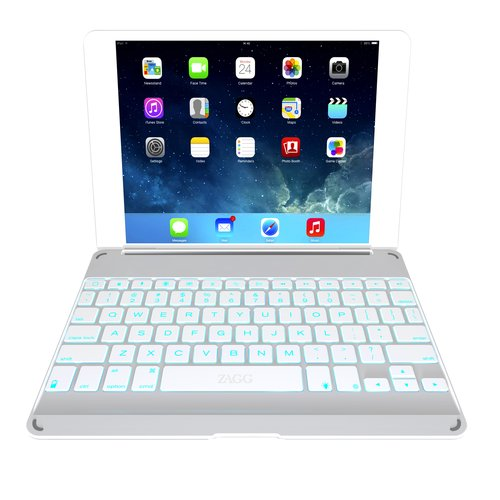 ZAGG ZAGGkeys Cover - Keyboard and folio case - Bluetooth - silver keyboard, white, silver case - for Apple iPad Air