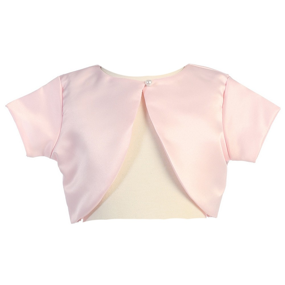 Lito Little Girls Pink Satin Special Occasion Bolero Shrug 4-5
