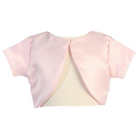 Pink Shrug - Lito Little Girls Pink Satin Special Occasion Bolero Shrug 4-5