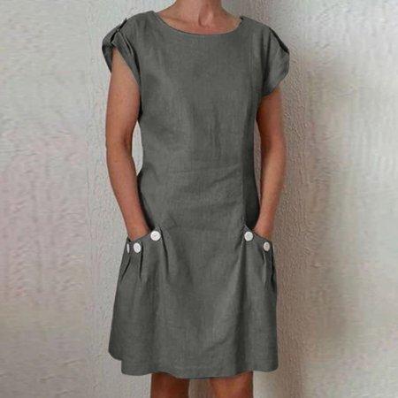 Women Casual Linen Dress Pocket Buttoned Decor Zipper Back Loose Mini Dress Button Back Pocket