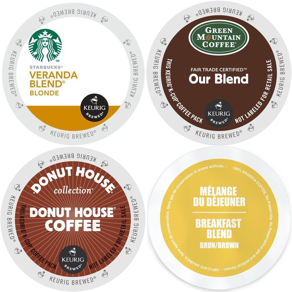 Light Roast KCup Coffee 96 ct VarietyPack- Starbucks Veranda Blonde, GreenMountain Our Blend, Faro Breakfast Blend & Donut House