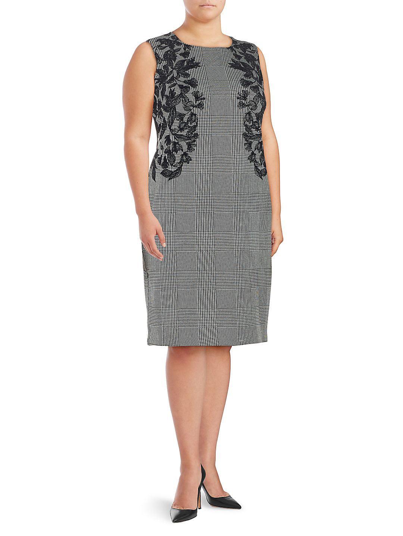 Plus Plaid Sheath Dress