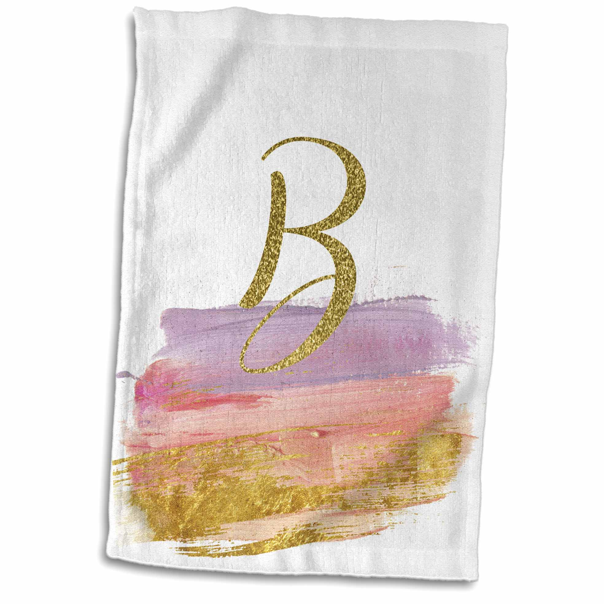 3dRose Modern Purple, Pink, Gold Brush Strokes Monogram B - Towel, 15 by 22-inch