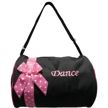 Wenchoice Girls Black Pink Polka Dot Ribbon Detail Stylish Dance Duffel Bag](Polka Dot Bag)
