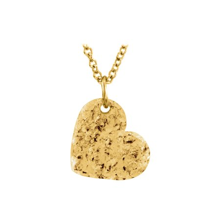 Yellow Gold Vermeil Hand Crafted Hammered Heart Pendant - image 2 of 2