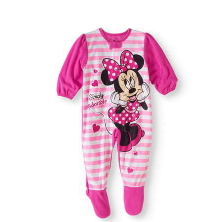 Minnie Mouse - Newborn Baby Girls  Micro Fleece Footed Pajama - Walmart.com bc2e6fe44