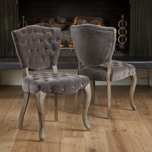 Harrington Tufted Charcoal Fabric Dining Chairs (Set of 2)