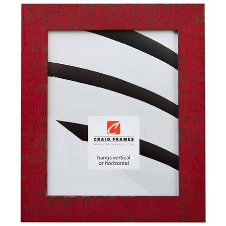 Hardwood Rustic Frame (Craig Frames Lancashire, 10 x 13 Inch Rustic Hardwood Picture Frame, Flag Red)